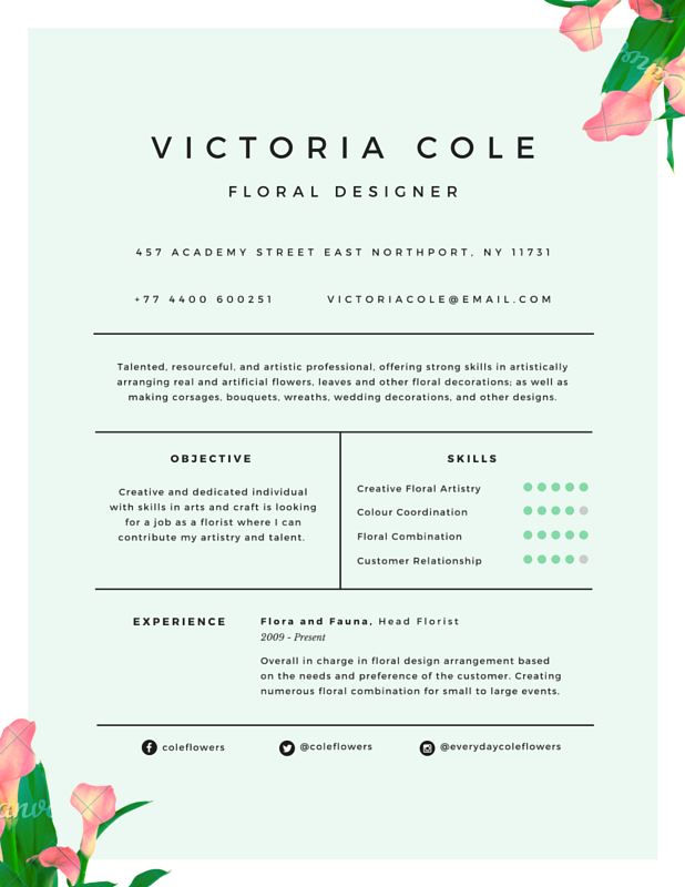 Charming Floral Designer Resume  Canva  College