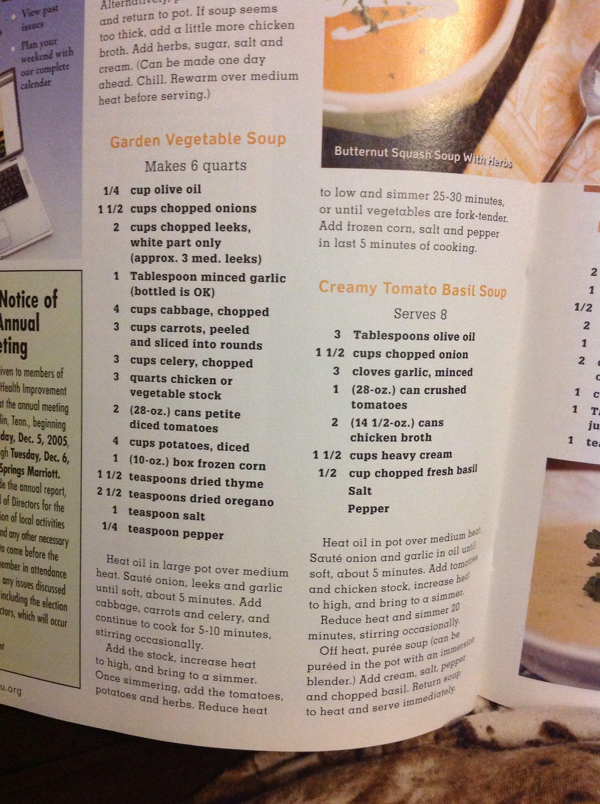 Garden vegetable and creamy tomato basil soups