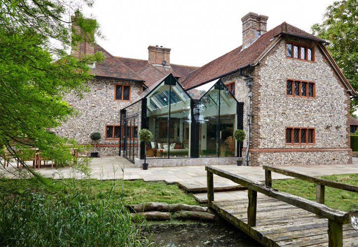 Double Ridge Structurally Glazed Extension To A Listed Building Architecture Building Extension Stone Cottages