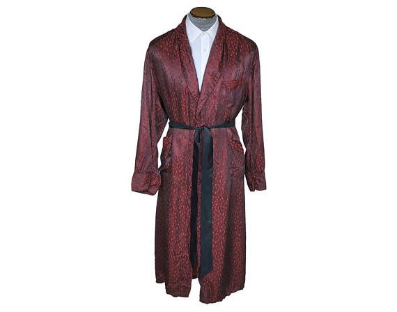 Vintage 1950s Mens Dressing Gown Maroon Robe Woven Squares Size Large