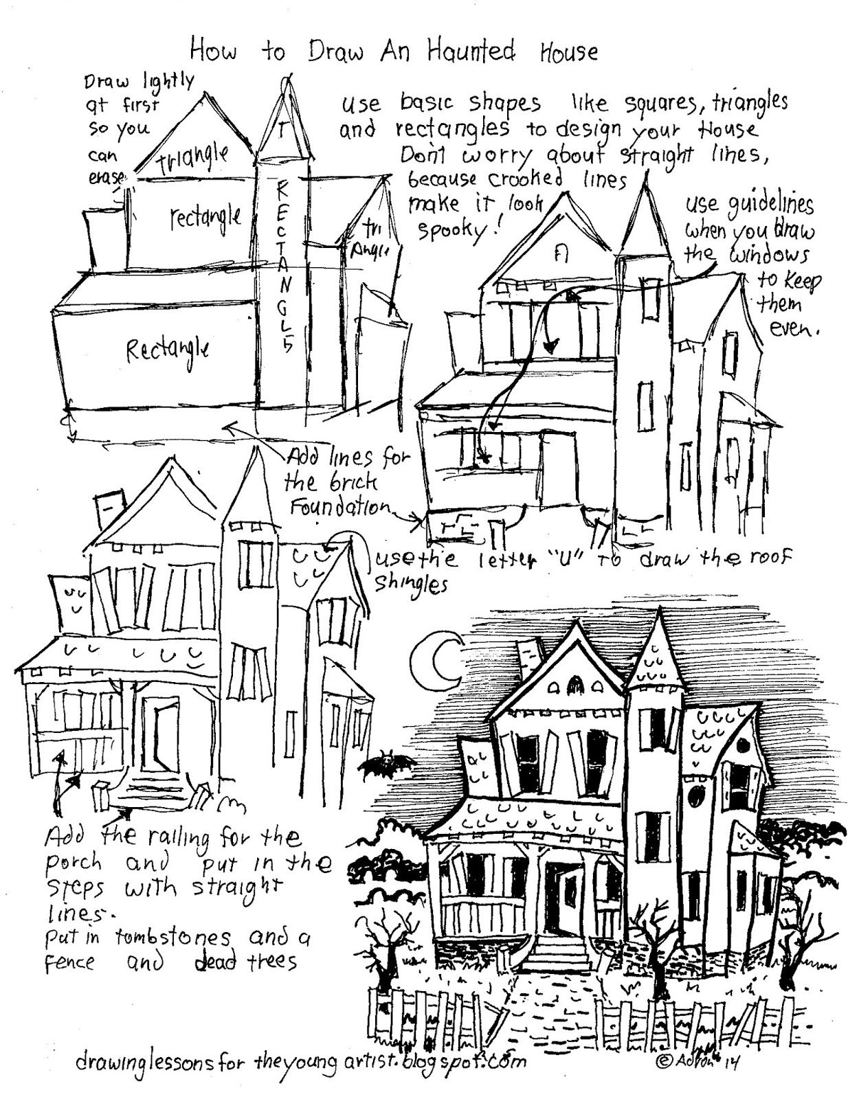 How To Draw Worksheets For The Young Artist: How To Draw A Haunted House  Free Worksheet