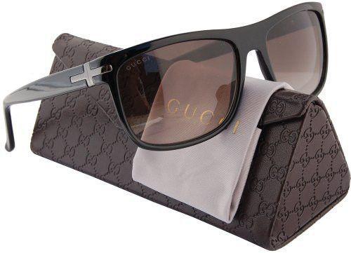 ba6509a9a3 GUCCI GG1027 S Men Sunglasses Shiny Black w Brown Gradient (0807) 1027 S  0807 HA 57mm Authentic
