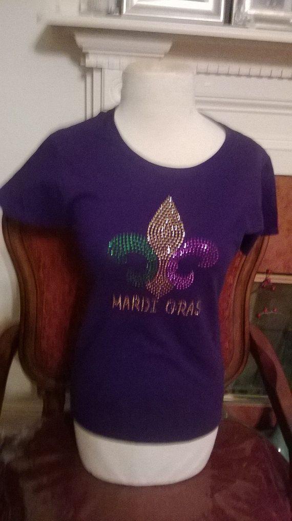 Mardi Gras  rhinestone T shirt by Bestfashions on Etsy, $11.99