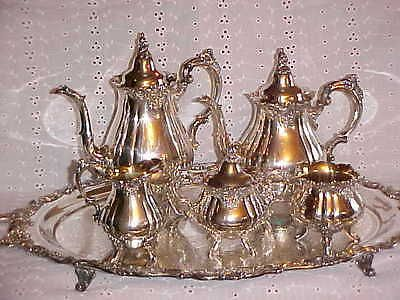 Ornate-WALLACE-Silverplate-6-Pc-Tea-Coffee-Service-w-Footed-Tray-Beautiful