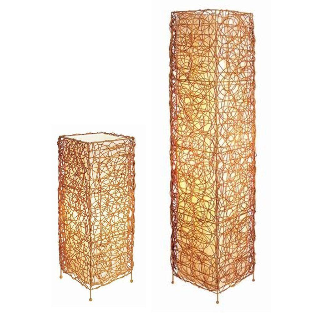 ORE International 23 in. Rectangle Rattan Lamp Set Tan