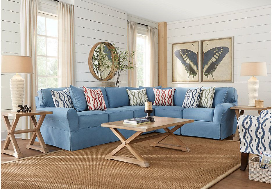 Best Cindy Crawford Home Beachside Ii Blue 2 Pc Sectional Living Room Sets Blue Living Room 400 x 300