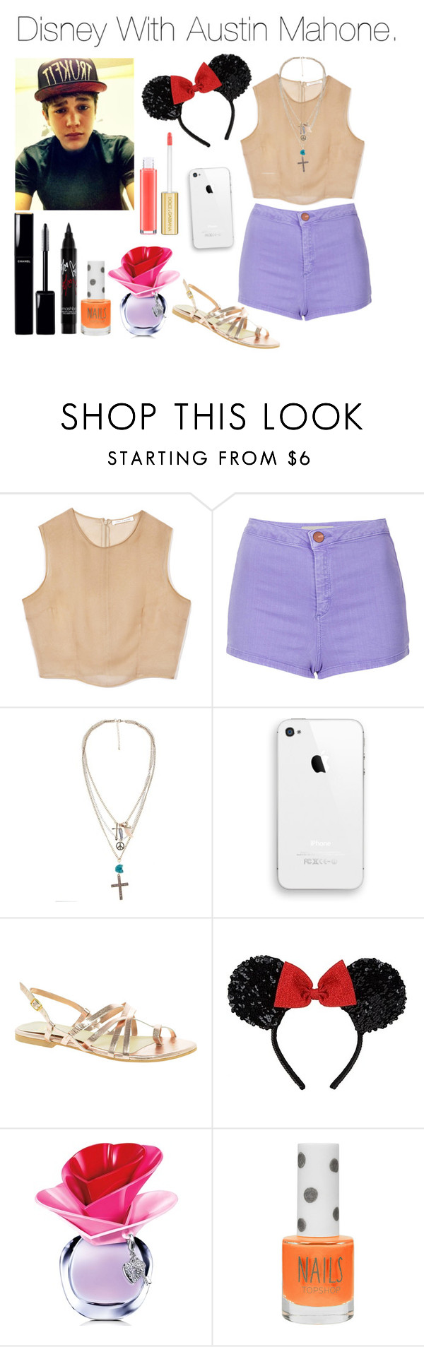 """""""Disney With Austin Mahone"""" by andymallette ❤ liked on Polyvore featuring Topshop, Faith, Disney, Justin Bieber, Chanel and Dolce&Gabbana"""