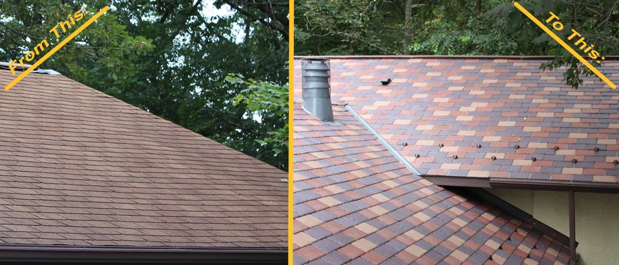 From A Failing Shingle Roof With Algae Build Up To An Indestructible Eco Star Majestic Slate Roof A Ledegar Roofing Compan Roof Shingles Slate Roof Shingling