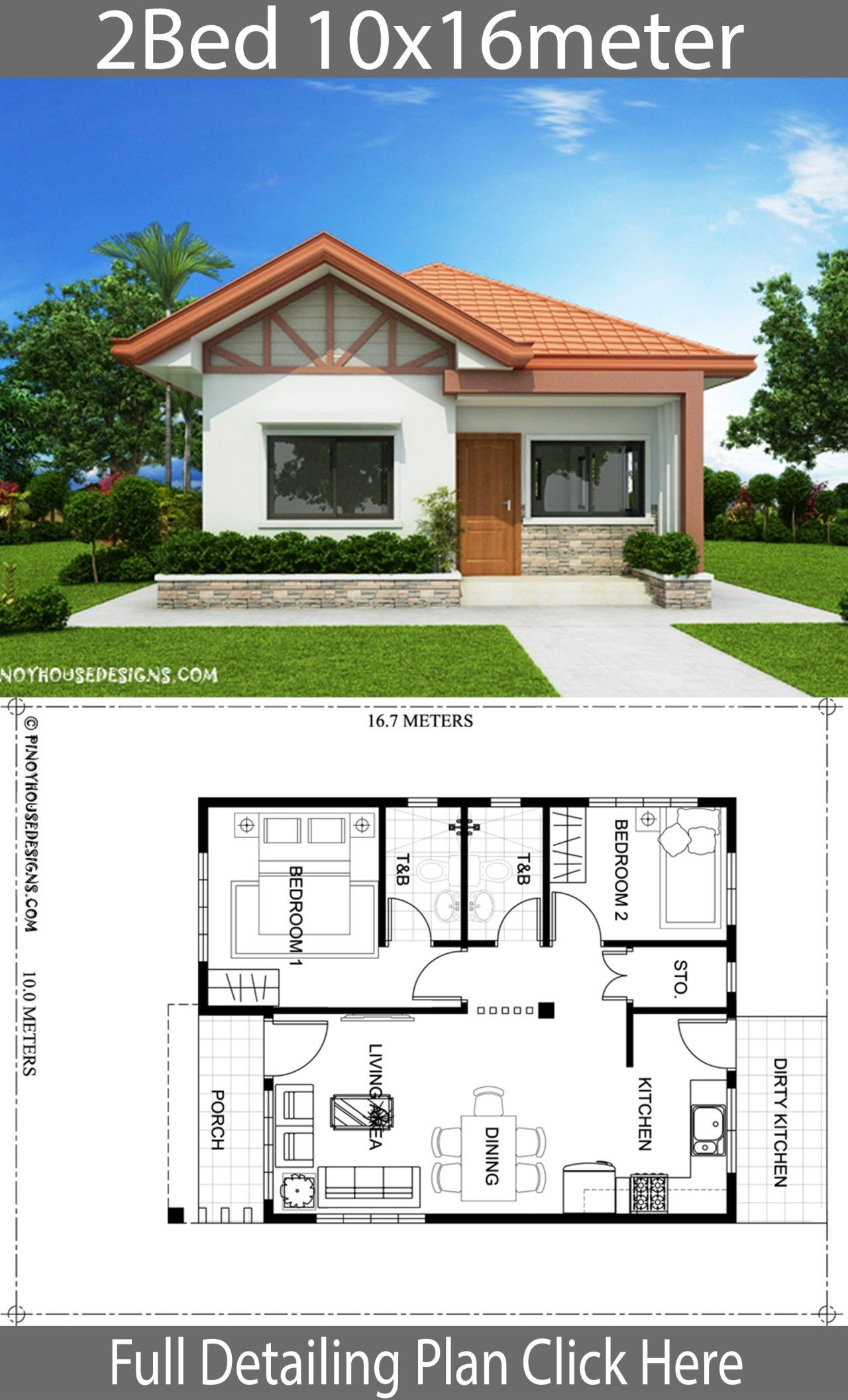 Home Design Plan 10x16m With 2 Bedrooms Home Ideas Affordable House Plans House Construction Plan Small House Design Plans