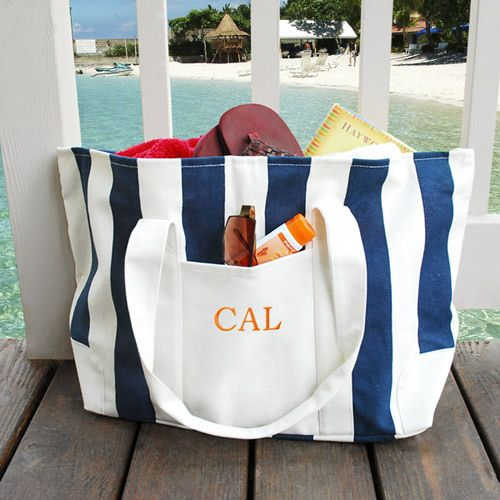 Embroidered Canvas Beach Totes | Canvases, Summer and Monograms