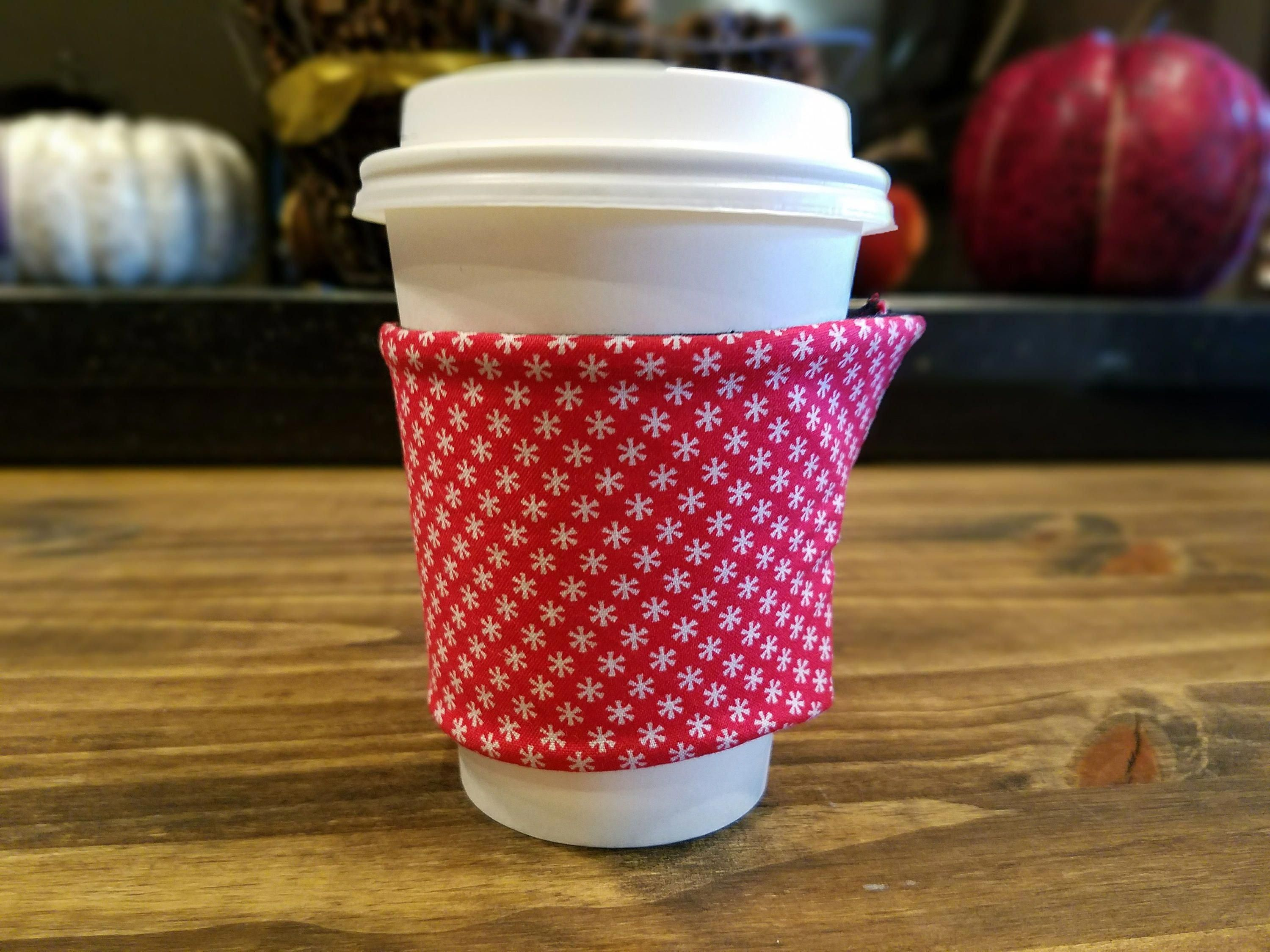 Red Snowflake Coffee Cup Sleeve, Christmas Coffee Cup, Red