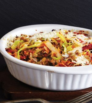 clean eating recipe for cabbage lentil pilaf