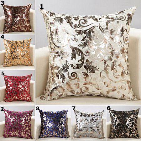 European Luxury Silver Floral Cushion Throw Pillow Case Cover Sofa