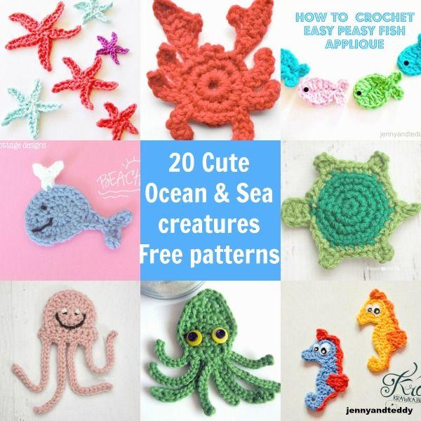 20 Cute Ocean and Sea creatures crochet applique free pattern ...