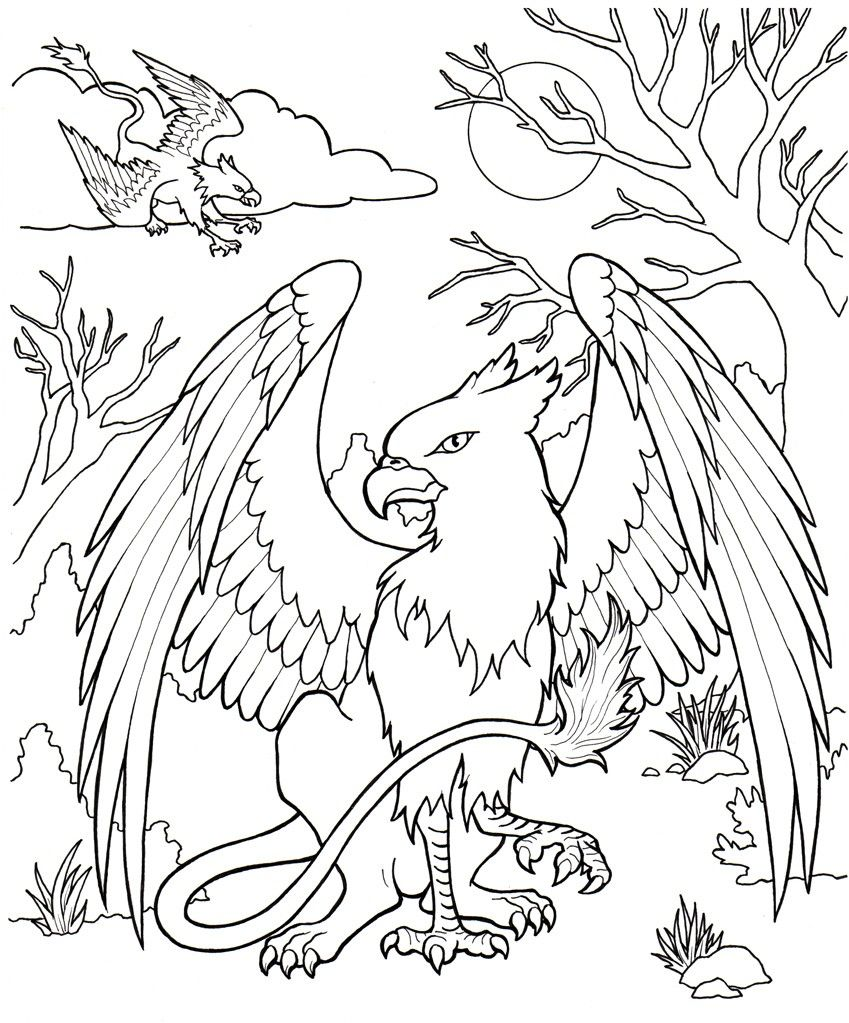mythical-creatures-coloring-pages.jpg (849×1023) | Раскраски | Pinterest