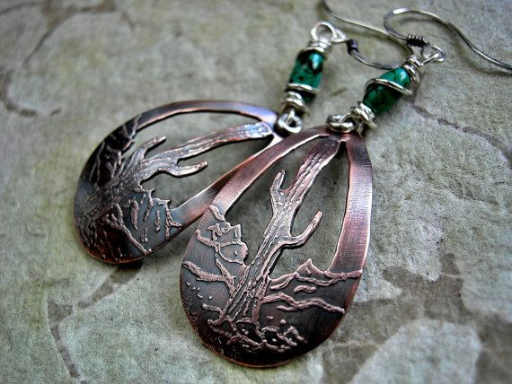 Etched Copper Earrings, Desert Scene, Elksong Jewelry, Metalwork Earrings.... $49.00