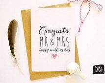 Happy Wedding Day Card - congratulations, Mr and Mrs, congrats card, wedding congrats, marriage - A6 greeting card on matte textured stock