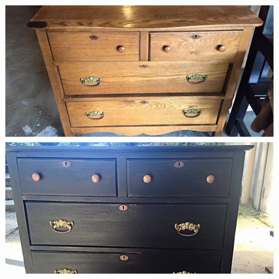 """Little dresser I painted. Before & After.  LaDonna Fasig ~ painter at """"Rust & Roses in Dacula, GA"""""""