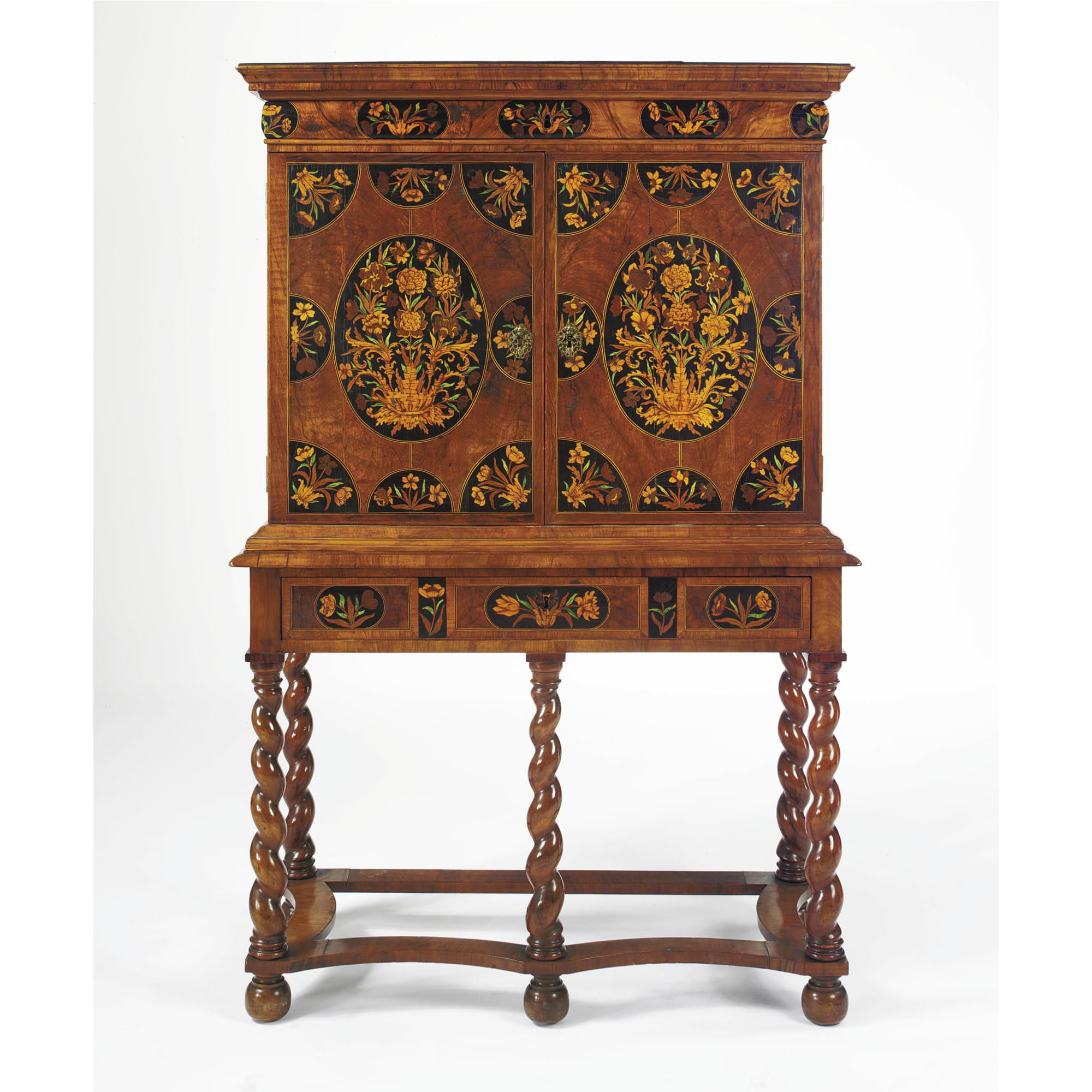 A Dutch Baroque Walnut And Floral Marquetry Cabinet On A Later  # Muebles Renacentistas
