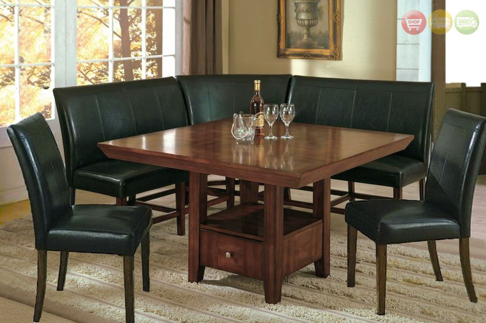 Salem 6 Pc Breakfast Nook Dining Room Set Table Corner Bench
