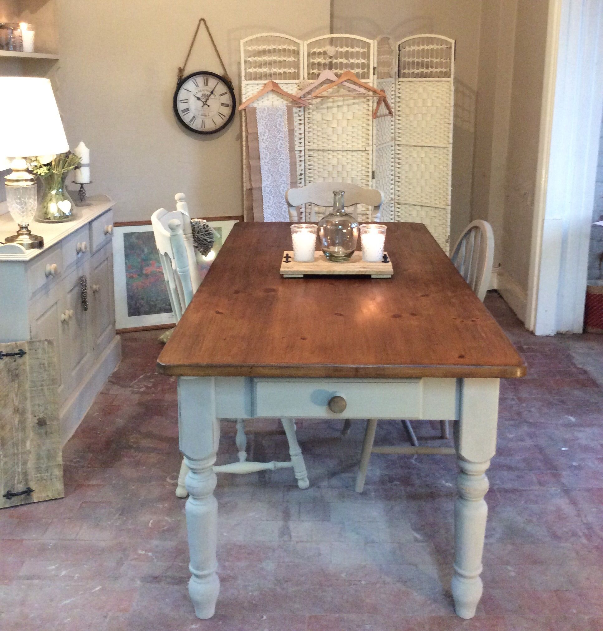 Antique farmhouse table pretty vintage farmhouse table chalked in pretty french linen grey