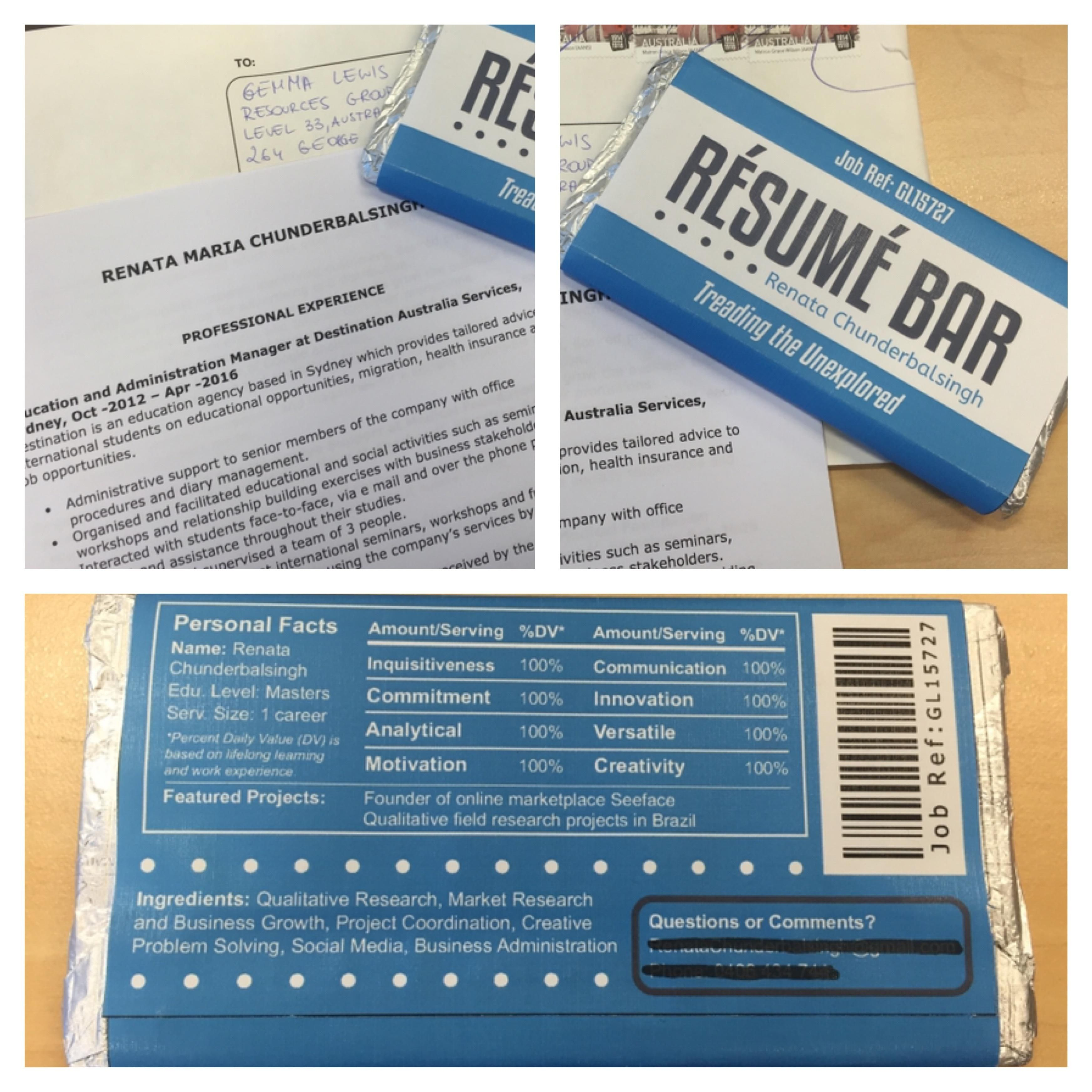 Fold your resume up and wrap it in a Resume Bar label that has all ...