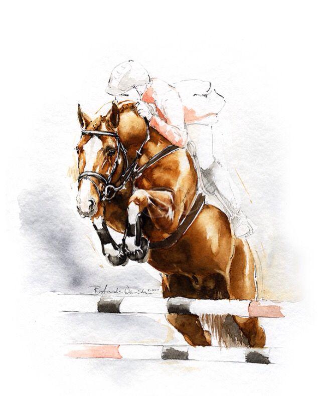 Dessin Saut Cheval Cet Apres Midi Concours De Saut Equestre Avec Ma Fille Peinture De Cheval Dessin Cheval Peinture Cheval