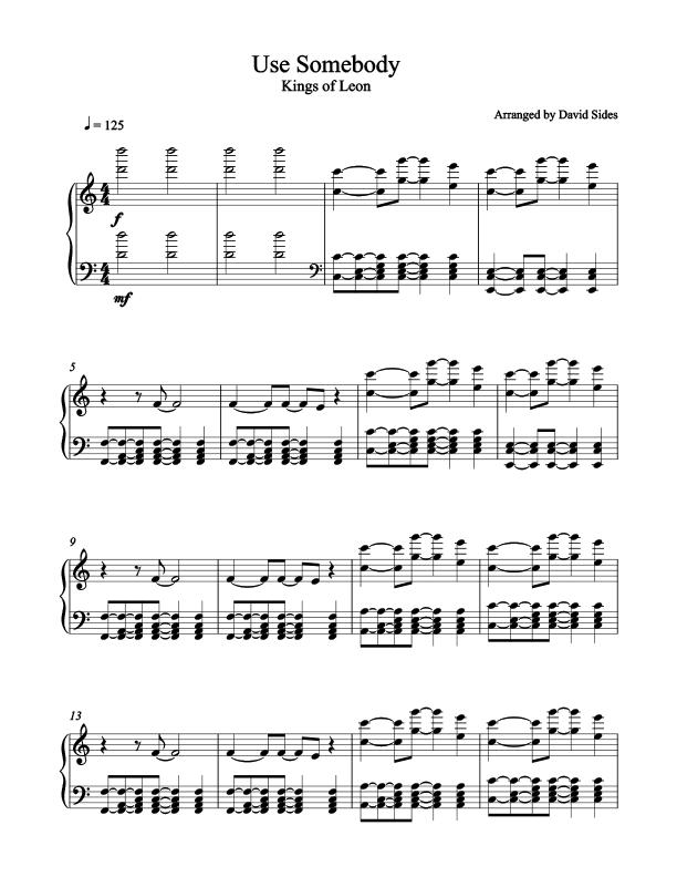 Use Somebody Kings Of Leon Piano Sheet Music Sheet Music