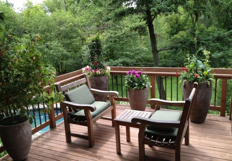 decoracion terrazas pequeñas campestre suelos macetas Fachadas