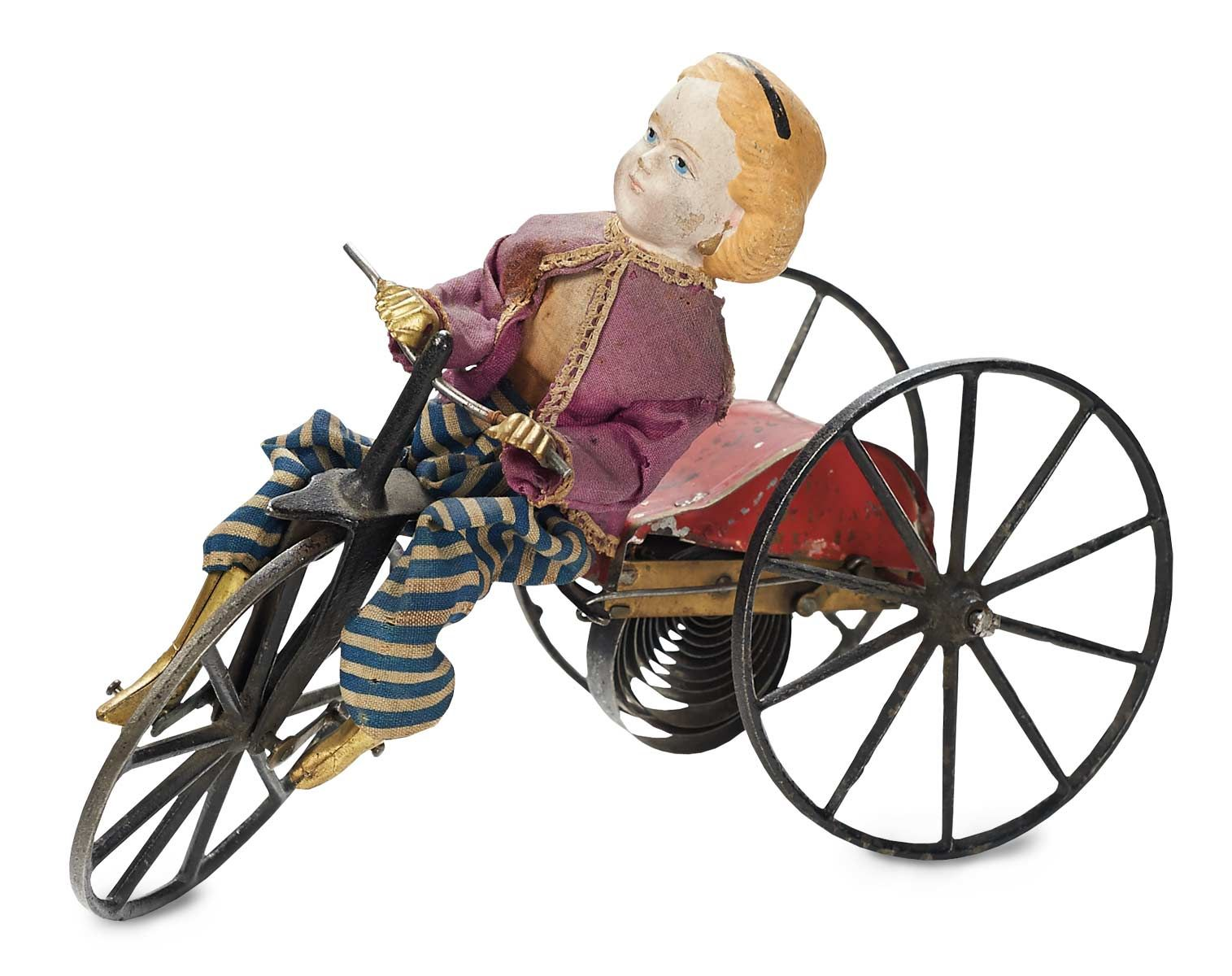 "American Patented Mechanical Toy ""Girl on Velocipede"" by Arthur Allen 1870"