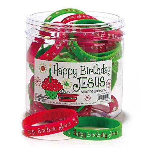 Happy Birthday Jesus Red Green Silicone Bracelets (Set of…