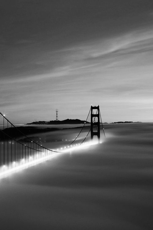 San Francisco, Golden Gate Bridge, Mt. Sutro, time lapse with fog making twilight traffic appear literally underwater