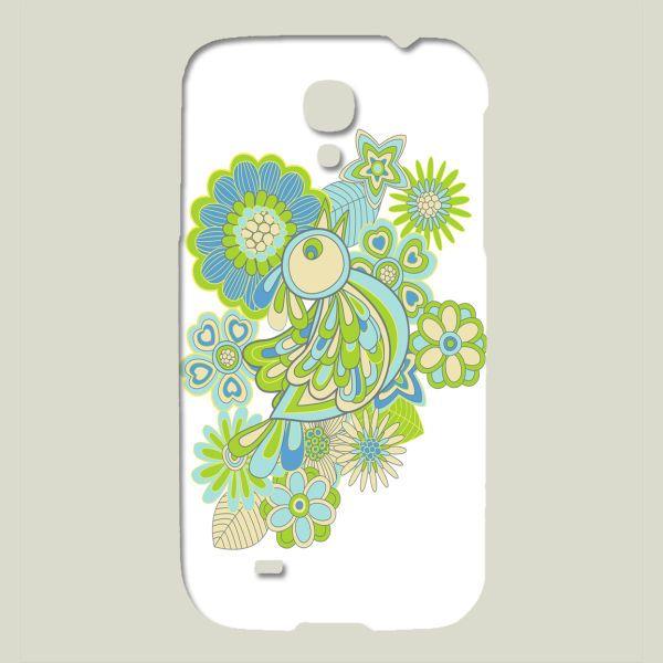 Fun Indie Art from BoomBoomPrints.com! https://www.boomboomprints.com/Product/juliagrifol/green_Bird/Galaxy_Cases/Samsung_Galaxy_S4_Slim_Case/#iphone #case #galaxy #bird #flowers #white