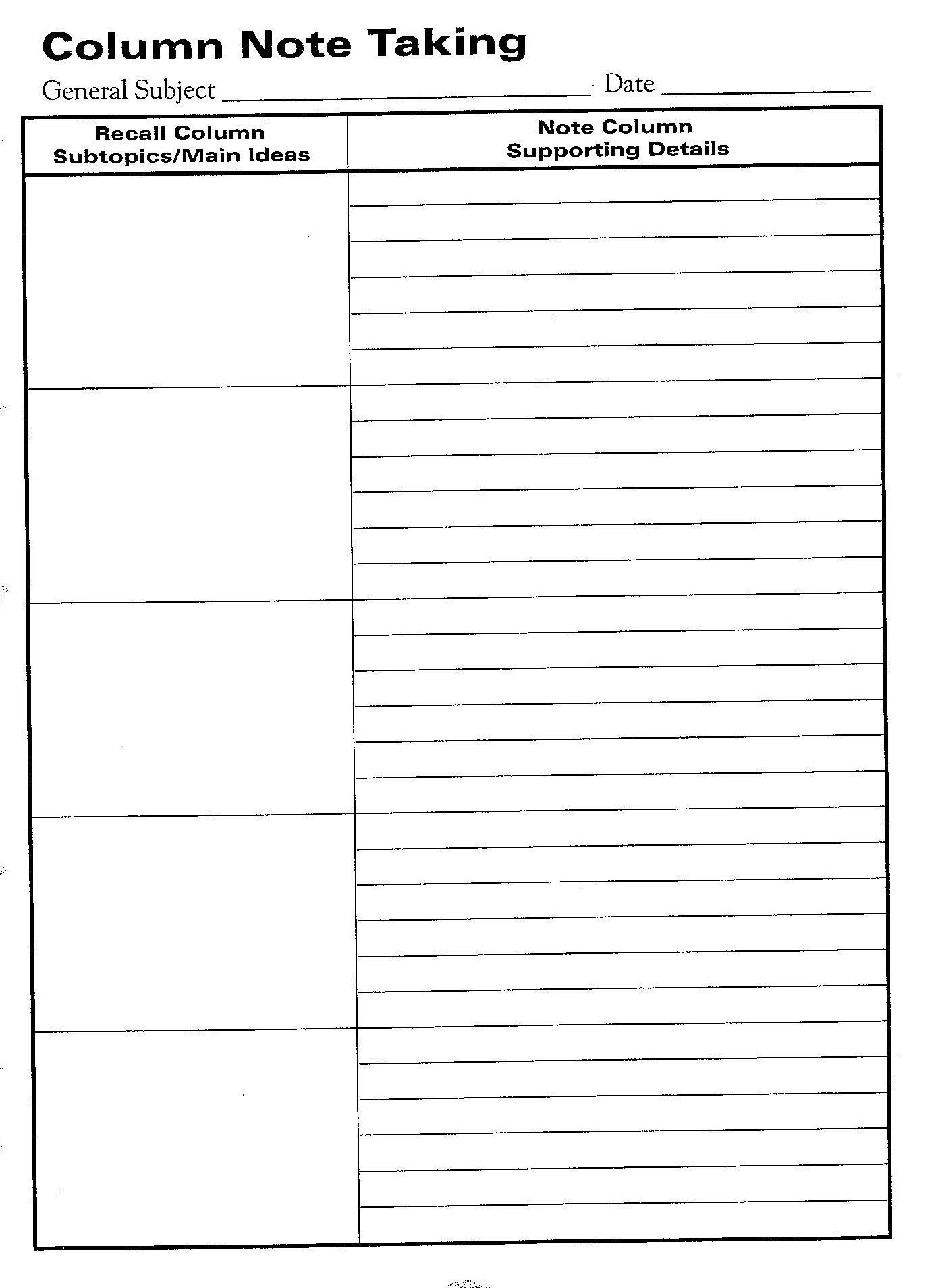 Free Printable Cornell Notes Graphic Organizer In