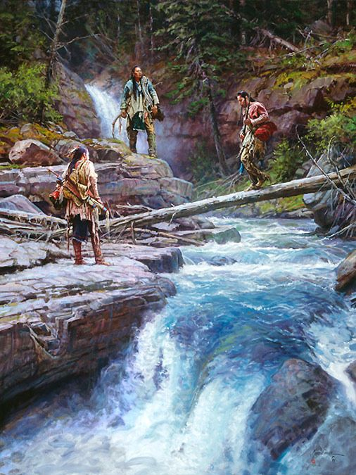 Native American artwork extraordinaire!  Martin Grelle captured 3 indians crossing a roaring creek in the middle of the forest! Gorgeous!  Brand new art release this month!