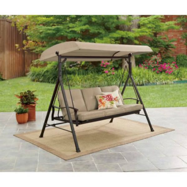 Patio Swing With Canopy Outdoor Seat Daybed Cushioned Furniture