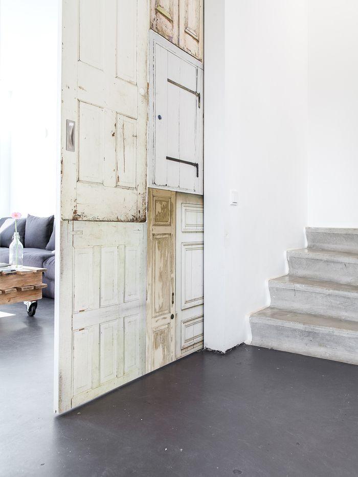 Schuifdeur met oude deuren behang sonja velda fotografie interieur algemeen pinterest - Oude huisdecoratie ...