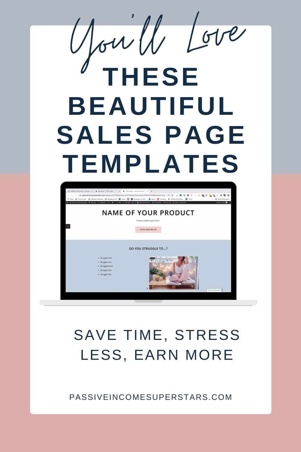 Get this bundle of beautiful Elementor sales page templates to create an irresistable sales funnel! Includes a lead magnet opt-in page, tripwire page template, webinar sign up page, sales page template, affiliate sign up page plus bonus sales funnel templates, product mockup templates and product pin templates! Sales funnel templates | Sales page template | Sales funnel page templates | Sell Digital porducts | Elementor #elementor #salespage #salesfunnel #funnels #digitalproducts #design