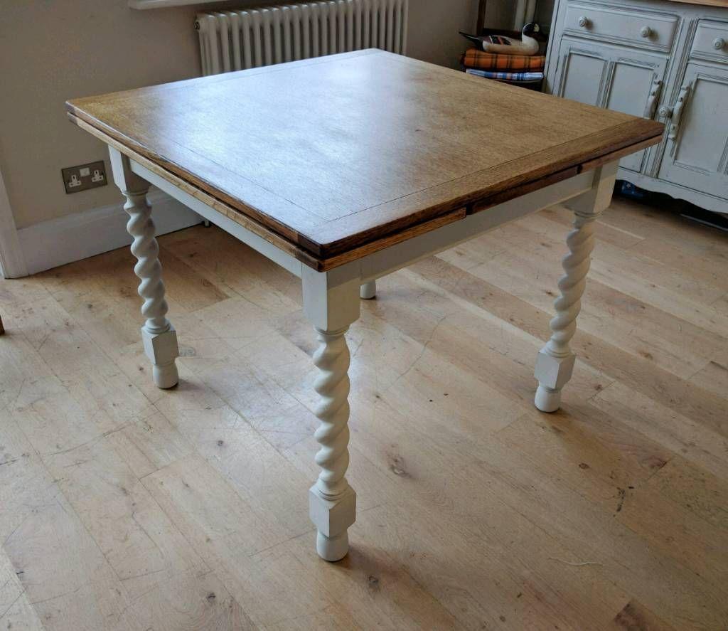 Beautiful Vintage Oak Draw Leaf Table Extending Dining Kitchen Seats 4