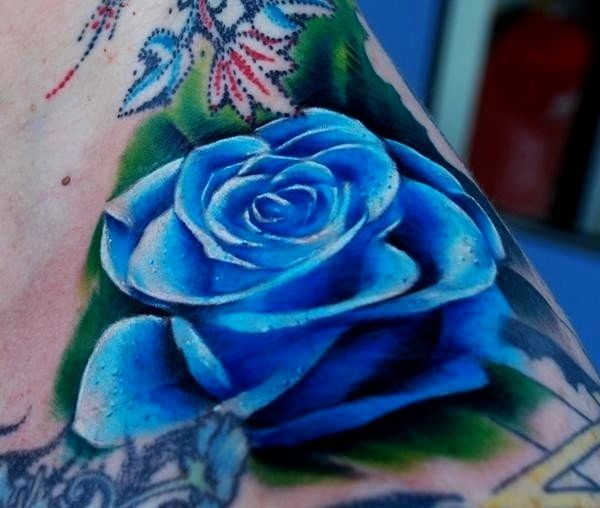 Blue Rose Tattoo Idea Pictures Blue Rose Tattoos Rose Neck Tattoo Flower Tattoo Shoulder