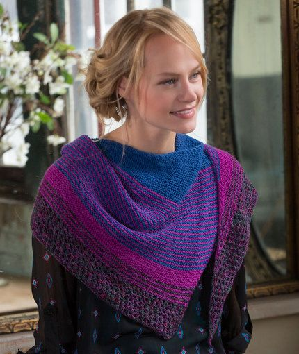 Modern Stripe Shawl Free Knitting Pattern In Red Heart Yarns