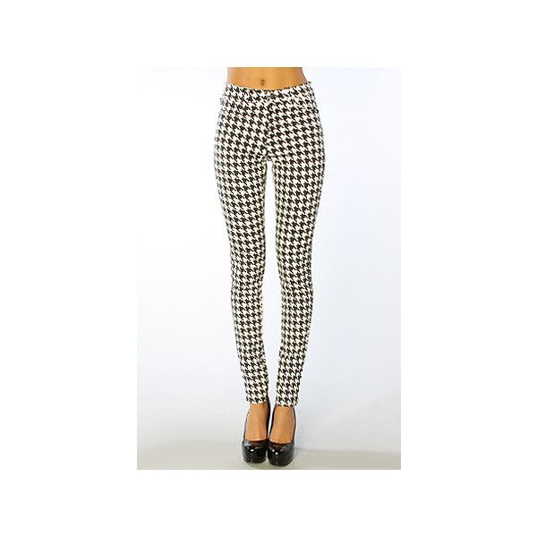 Tripp NYC The Highwaisted Houndstooth Jean in White & Black ($79) ❤ liked on Polyvore