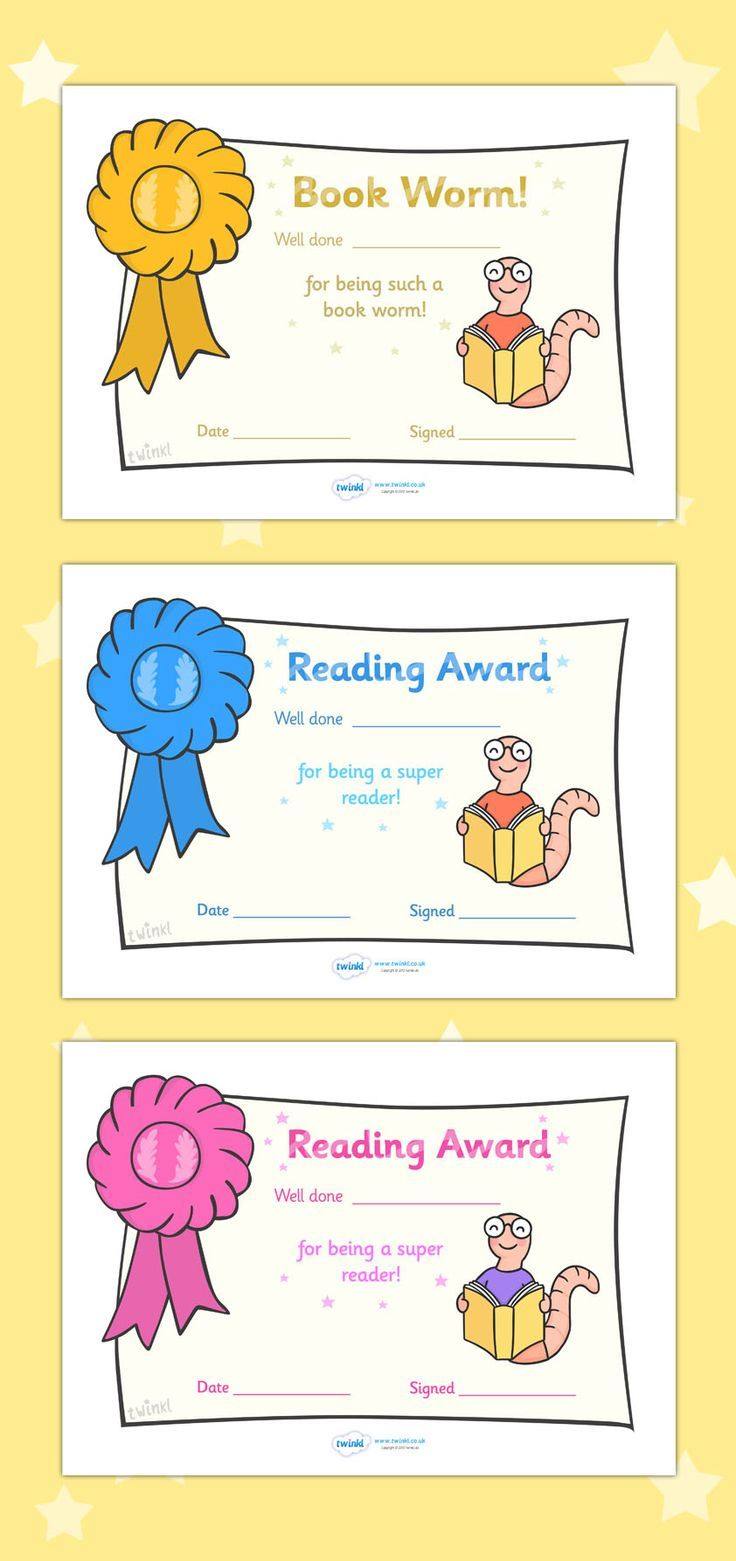 free printable editable reading award certificates