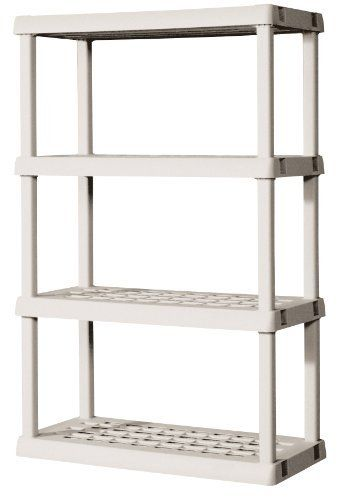 Sterilite Premium Heavy Duty 4 Shelf Storage Unit With Tubular Construction By Sterilite 55 45 Assembles In Less With Images Plastic Shelving Units Sterilite Shelf Unit