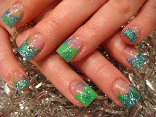 teal glitter and green tips soo cute  nail art