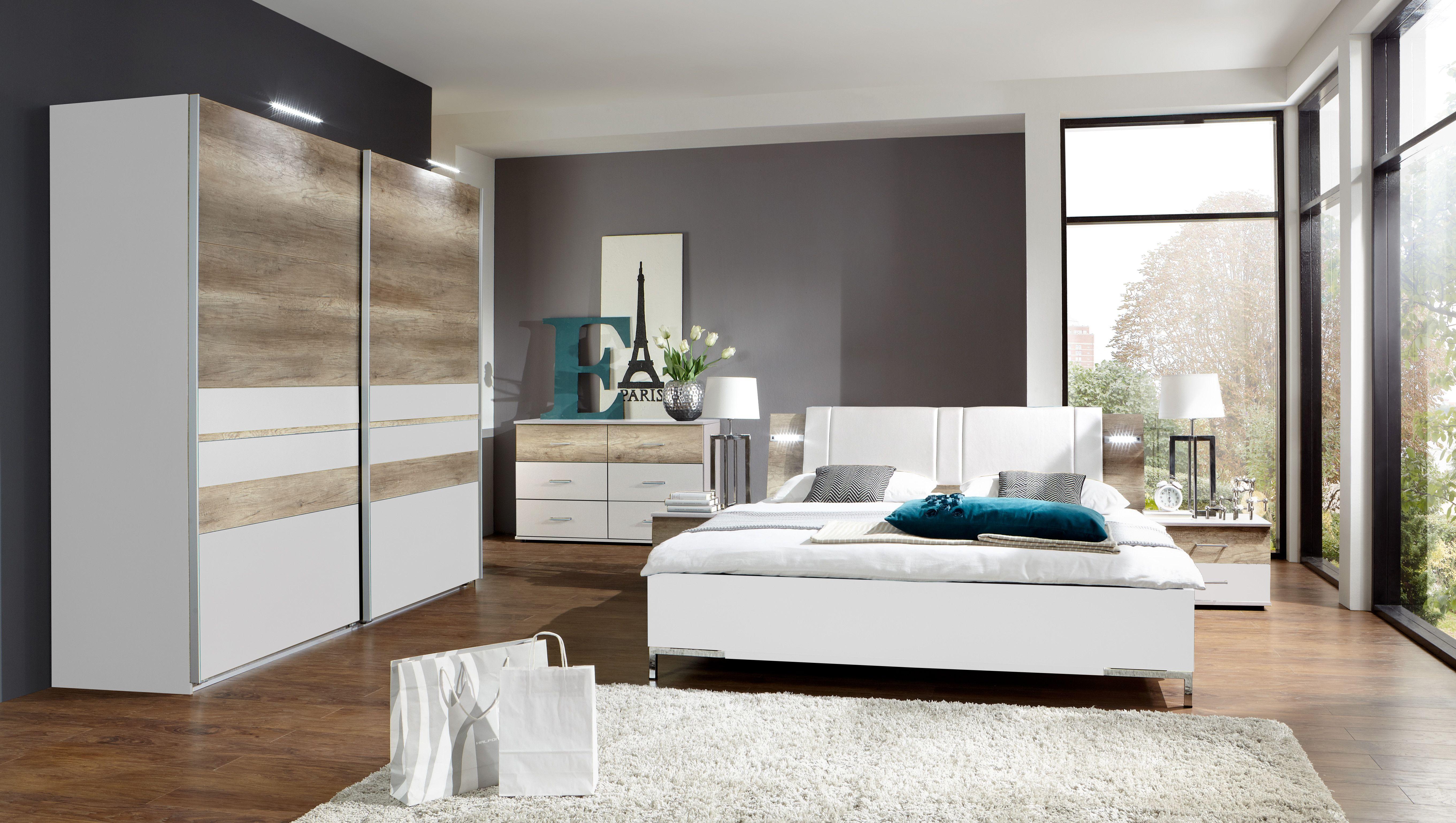 Schlafzimmermöbel Massivholz ~ Schlafzimmer mit bett 180 x 200 cm alpinweiss wildeiche woody 132