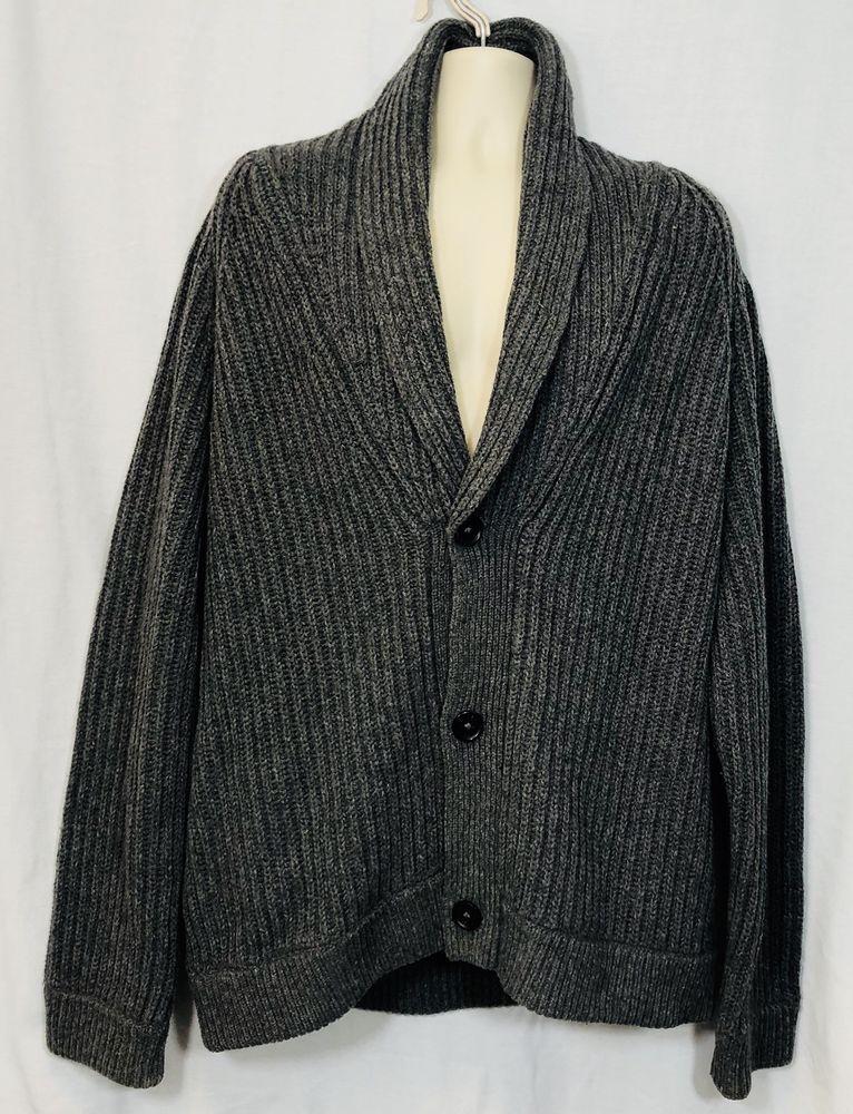 bc0d5453f Vince Mens Cardigan Sweater Size XL Gray Wool Shawl Collar Long Sleeves  Pockets   eBay