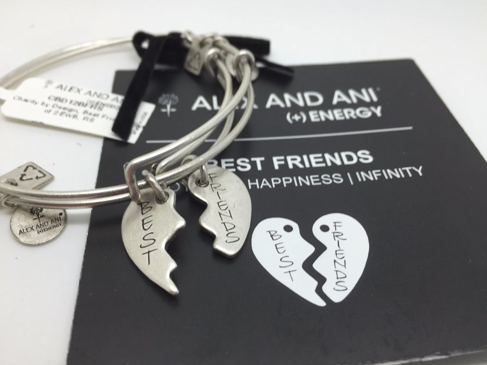 Alex And Ani Silver Best Friends Bracelets 2 Piece Set Charm New Alexandani