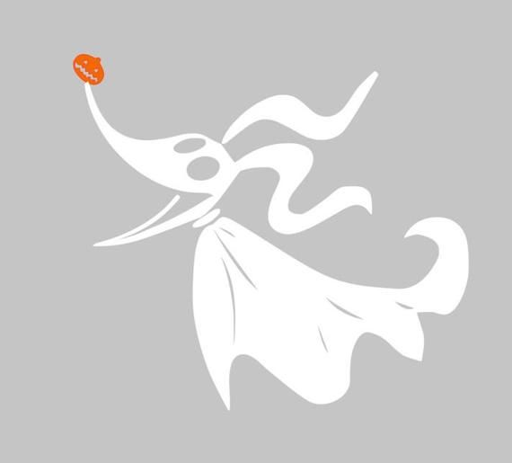 Nightmare Before Christmas Inspired Zero Ghost Dog Decal in White