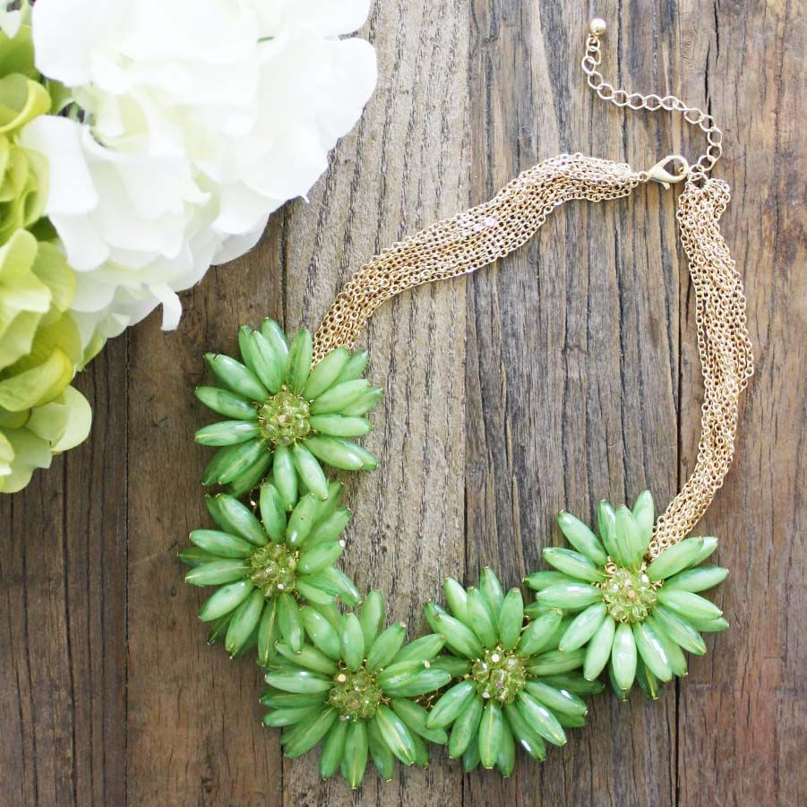 Little Sparkler Necklace in Moss, Women's Sweet Country Inspired Jewelry